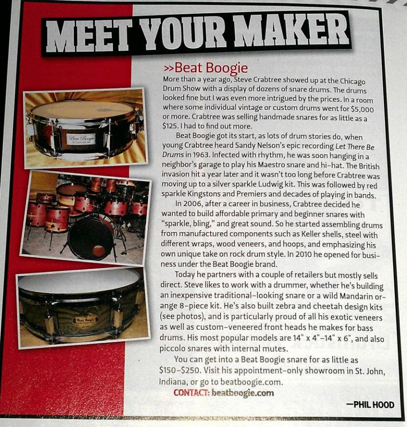 Drum! Magazine August 2012 Issue Beat Boogie Quality Custom Drums