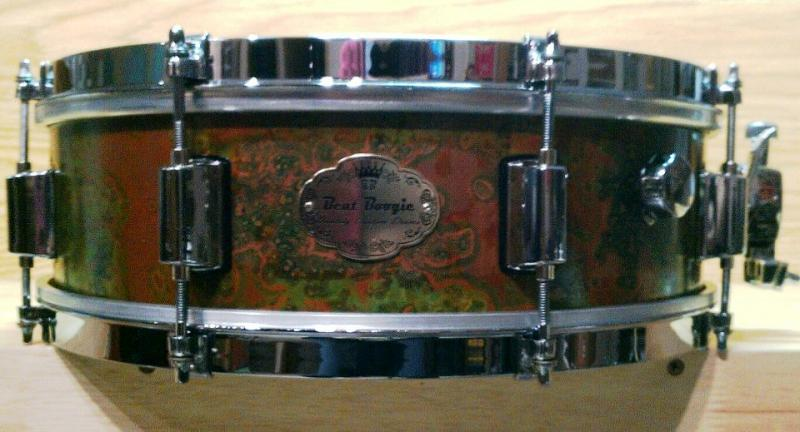 Verde Copper Snare, Vintage Single Flange Hoops, Built in Mute.
